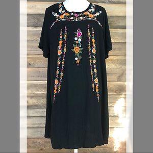 Umgee black embroidered A-line mini dress